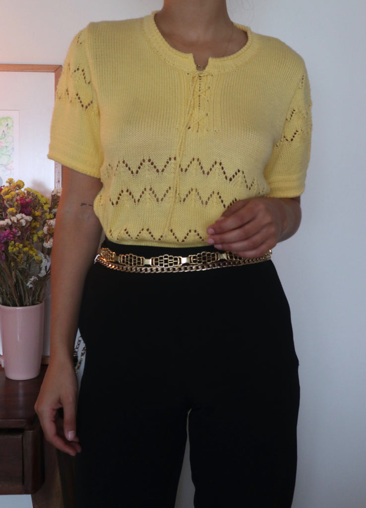 Vintage 90s Knit Short Sleeve Blouse in Yellow