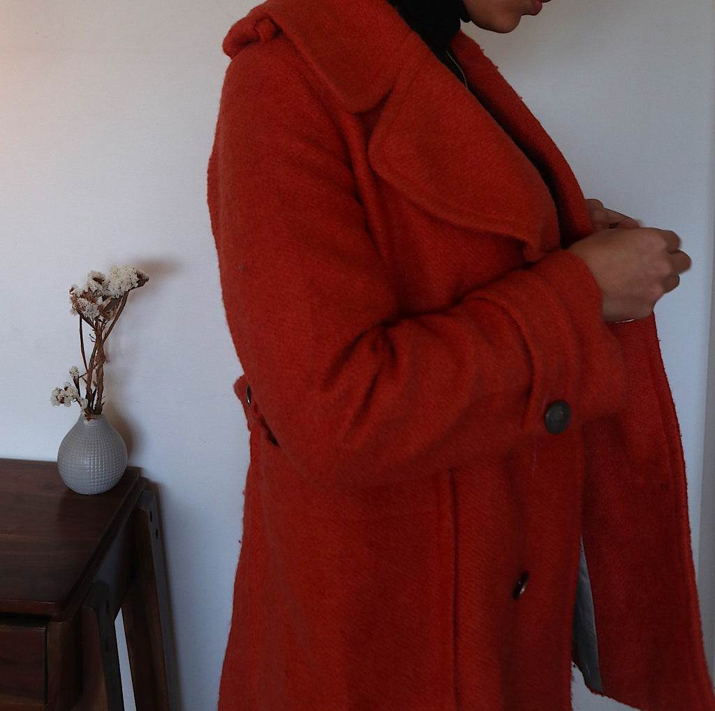 Vintage 80s Wool Coat Women in Orange