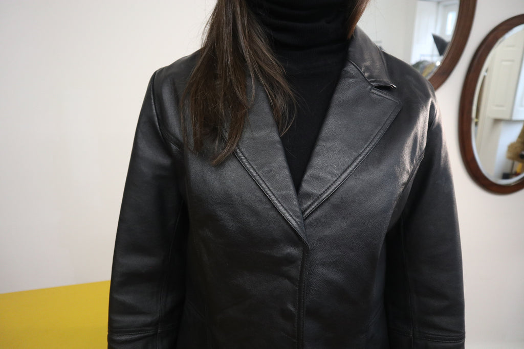 Classic Vintage Leather Jacket in Black