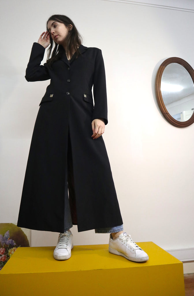 70s Long Vintage Coat in Black