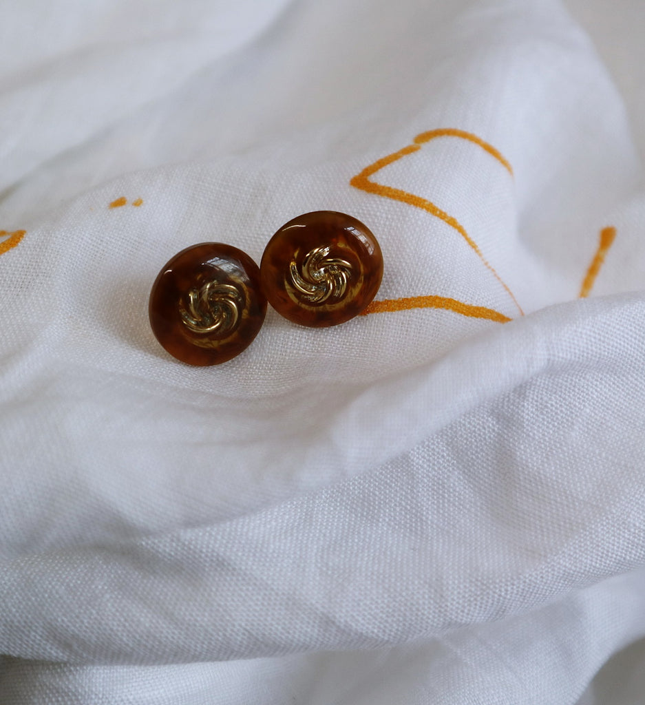 Brown and Golden Vintage Earrings Handmade by Us