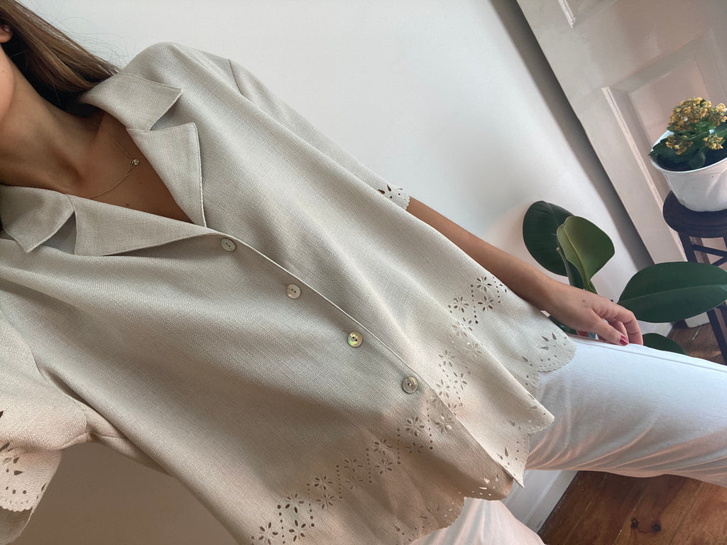 Beige Vintage Shirt With Cutouts - unique