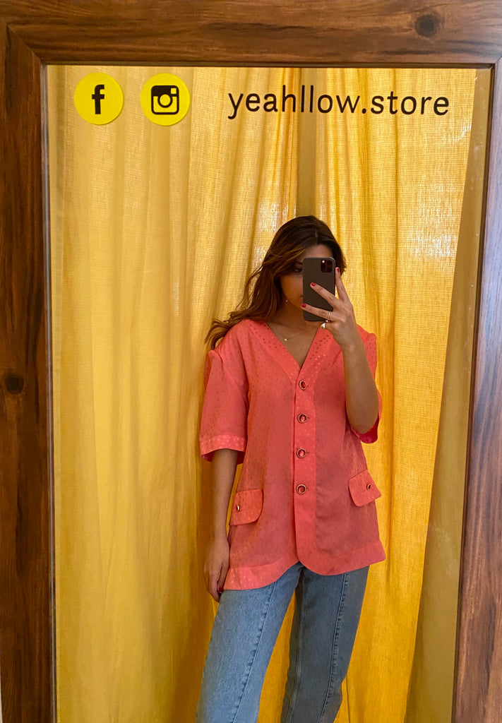 Vintage Salmon Blouse With Polka Dots