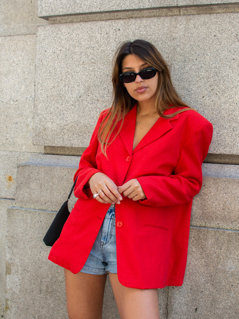 Vintage oversize blazer in red - with shoulder pads .
