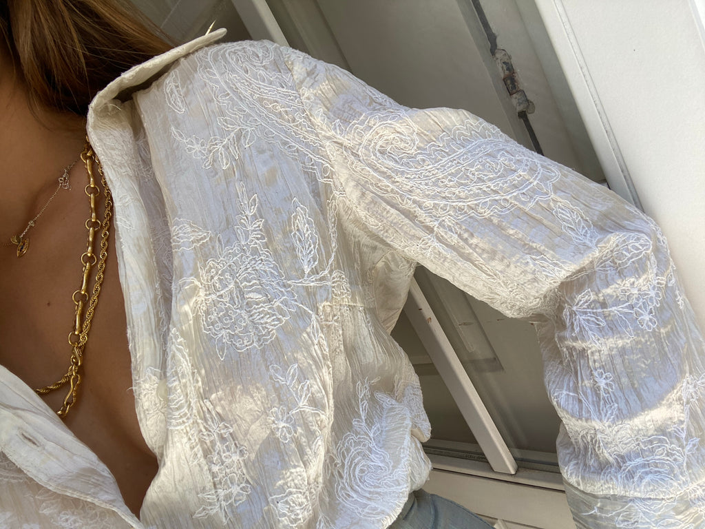 Vintage Pearl Blouse - with embroidery