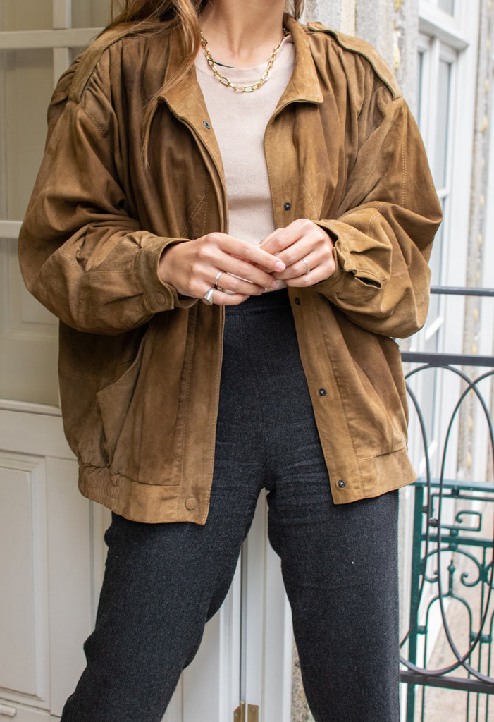 Vintage Suede Coat In Camel