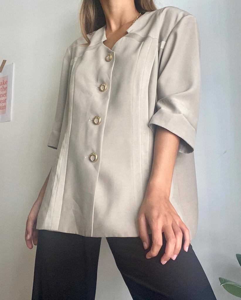 Vintage Classic Short Sleeve Blazer With Gold Buttons - So Stylish