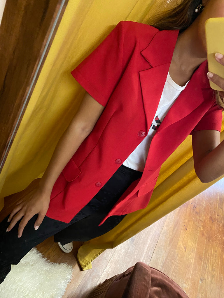 Classic short sleeve vintage blazer in red