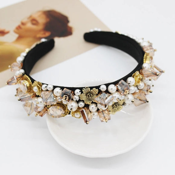 Neutral embellished headband