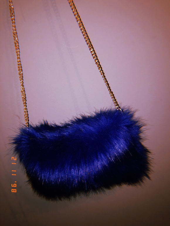 Blue fluffy bag