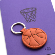 Load image into Gallery viewer, Mini Basketball Leather Keychain + Linocut print greeting card gift set