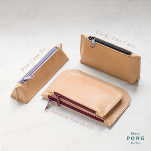 Kayak Collection - Vegetable Tanned Leather Pen & Pencil Case S1
