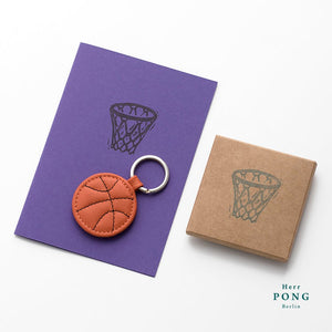 Mini Basketball Leather Keychain + Linocut print greeting card gift set