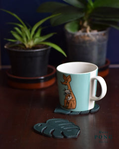 Leather Monstera Leaf Coasters x2 + Monstera Card