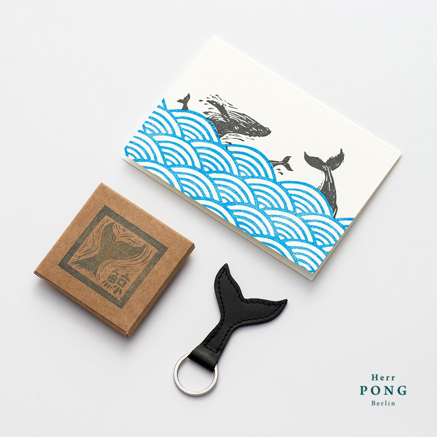 The Whale Tail Leather Keychain + Linocut Greeting Card