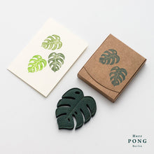 Load image into Gallery viewer, Leather Monstera Leaf Coasters x2 + Monstera Card