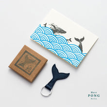 Load image into Gallery viewer, The Whale Tail Leather Keychain + Linocut Greeting Card