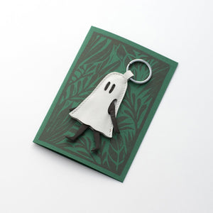 Little Ghost Leather Keychain with Evening Print