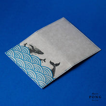 "Load image into Gallery viewer, ""Vegan Leather"" Hand Printed Passport Holder - Whales in the Ocean"