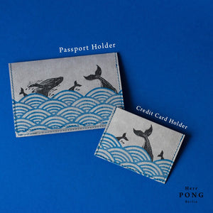 """Vegan Leather"" Hand Printed Passport Holder - Whales in the Ocean"