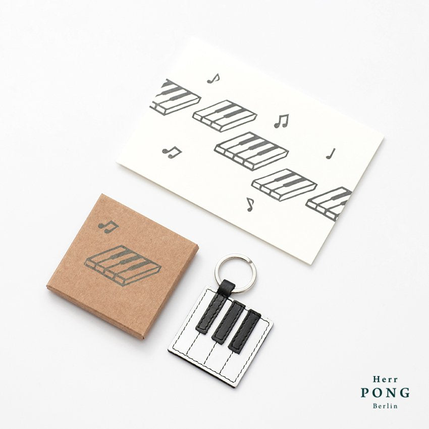 The Piano Keyboard Key Ring FGAB + Linocut Greeting Card