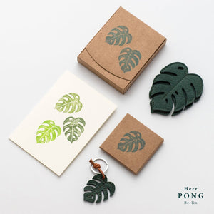 Leather Monstera Leaf Coasters x2 + Key Chain x1 + Linocut Greeting Card