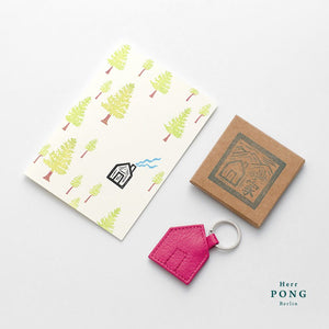 Das Haus Leather Keychain + Linocut Greeting Card