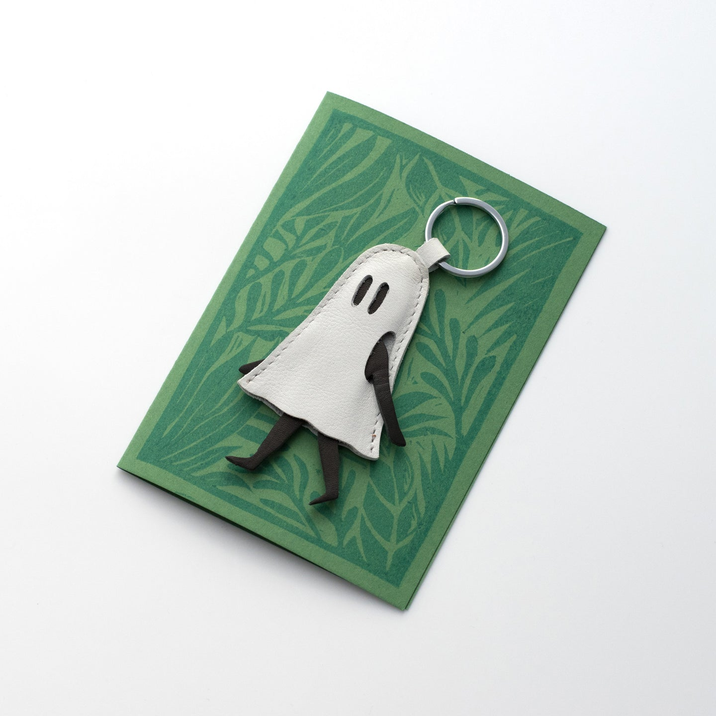 Little Ghost Leather Keychain with Morning Print