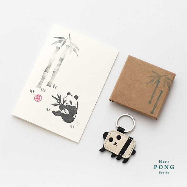 Mini Panda (Left side) Leather Keychain + Hand Stamped Greeting Card Gift Set