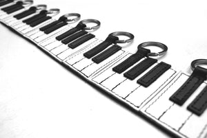 The Piano Keyboard Leather Key Holders + Linocut Greeting Card