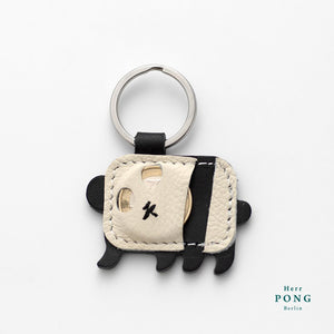 A Pair of mini Panda Leather Keychain + Linocut Greeting Card
