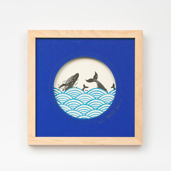 Whales in Ocean Linocut Art Print in solid Bass Wood frame