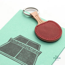 Load image into Gallery viewer, Pair of Mini Ping Pong Leather Keychains + 2Linocut Greeting Card