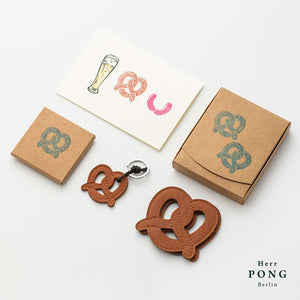 Leather Pretzel Coasters x2 in Gift Box + Leather Pretzel Key Ring x 1 + Greeting card Gift set