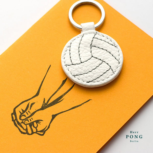 Mini Volleyball Leather Keychain + Linocut Greeting Card