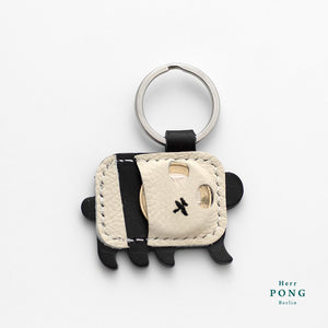 Mini Panda (Right side) Leather Keychain + Hand Stamped Greeting Card Gift Set