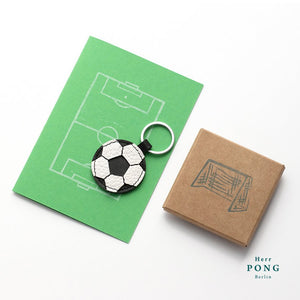 Mini Football Leather Keychain + Linocut print greeting card gift set