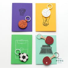 Load image into Gallery viewer, Mini Football Leather Keychain + Linocut print greeting card gift set