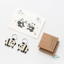 Load image into Gallery viewer, A Pair of mini Panda Leather Keychain + Linocut Greeting Card