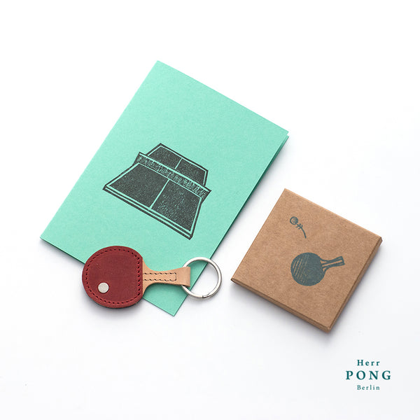 Mini Ping Pong (with ball) Leather Keychain + Linocut print greeting card gift set