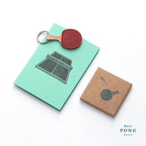 Mini Ping Pong (without ball) Leather Keychain + Linocut Greeting Card