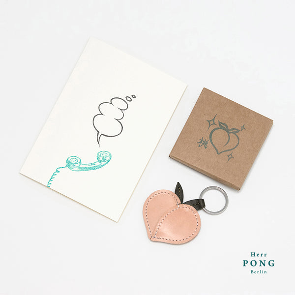 White Peach Keychain + Telephone Dialog box linocut Greeting card