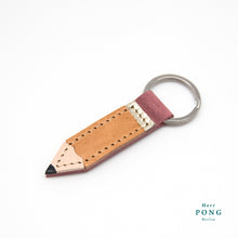 Load image into Gallery viewer, Little Pencil Leather Keychain + Linocut Greeting Card