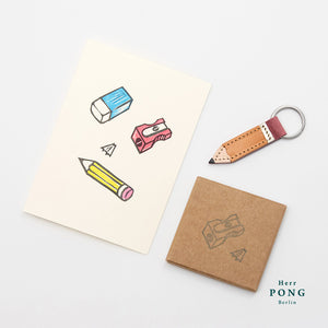 Little Pencil Leather Keychain + Linocut Greeting Card