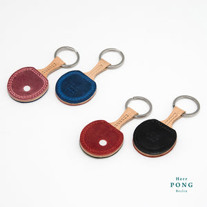 Pair of Mini Ping Pong Leather Keychains + 2Linocut Greeting Card