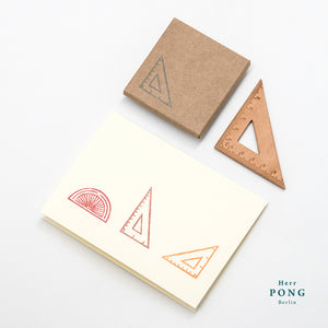 Vegetable tanned Leather Triangle Ruler + linocut greeting card