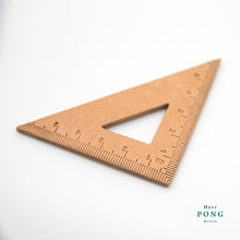 Load image into Gallery viewer, Vegetable tanned Leather Triangle Ruler + linocut greeting card
