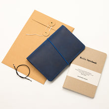 Load image into Gallery viewer, Leather Notebook Cover Blue + 2-pack of the original Berlin Notebook gift set