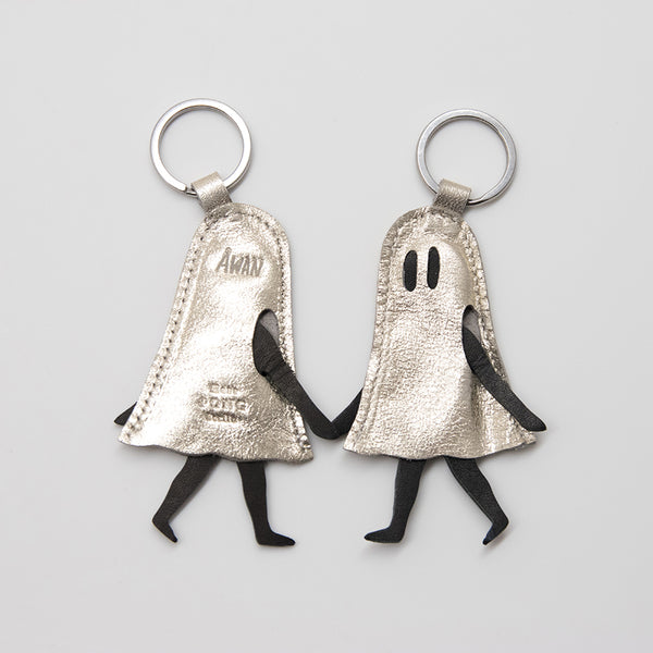 *SILVER EDITION* Little Ghost Leather Keychain with Midnight Print