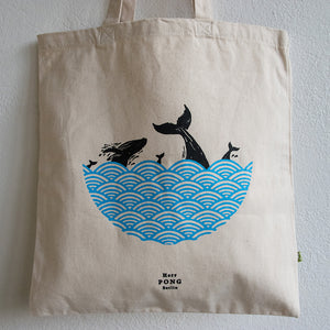 Whales in Ocean Organic Cotton Tote Bag